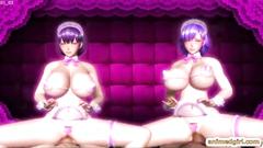 Maid 3D futanaris foursome fucked on the sofa
