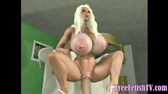 3D Blonde with Gigantic Boobs Sits on Huge Dick