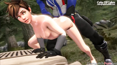 Horny Tracer gets her tight pussy drilled well by big dicks